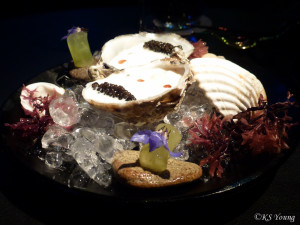 "41 Degrees - Oyster with ""Ajo Blanco,"" Grape and Caviar"