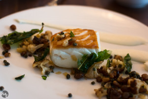 Halibut with cauliflower puree and pine nut raisin agrodulce.