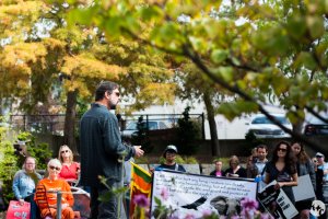 University of Washington Professor Samuel Wasser speaks at Seattle's Global March for Elephants and Rhinos