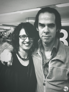 Posing with Nick Cave at lucky carousel 13, San Francisco Airport