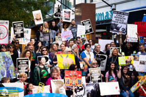 A boisterous turnout for Seattle's Global March for Elephants and Rhinos