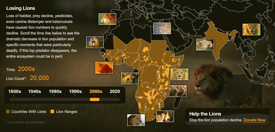 National Geographic Lion Decline Map