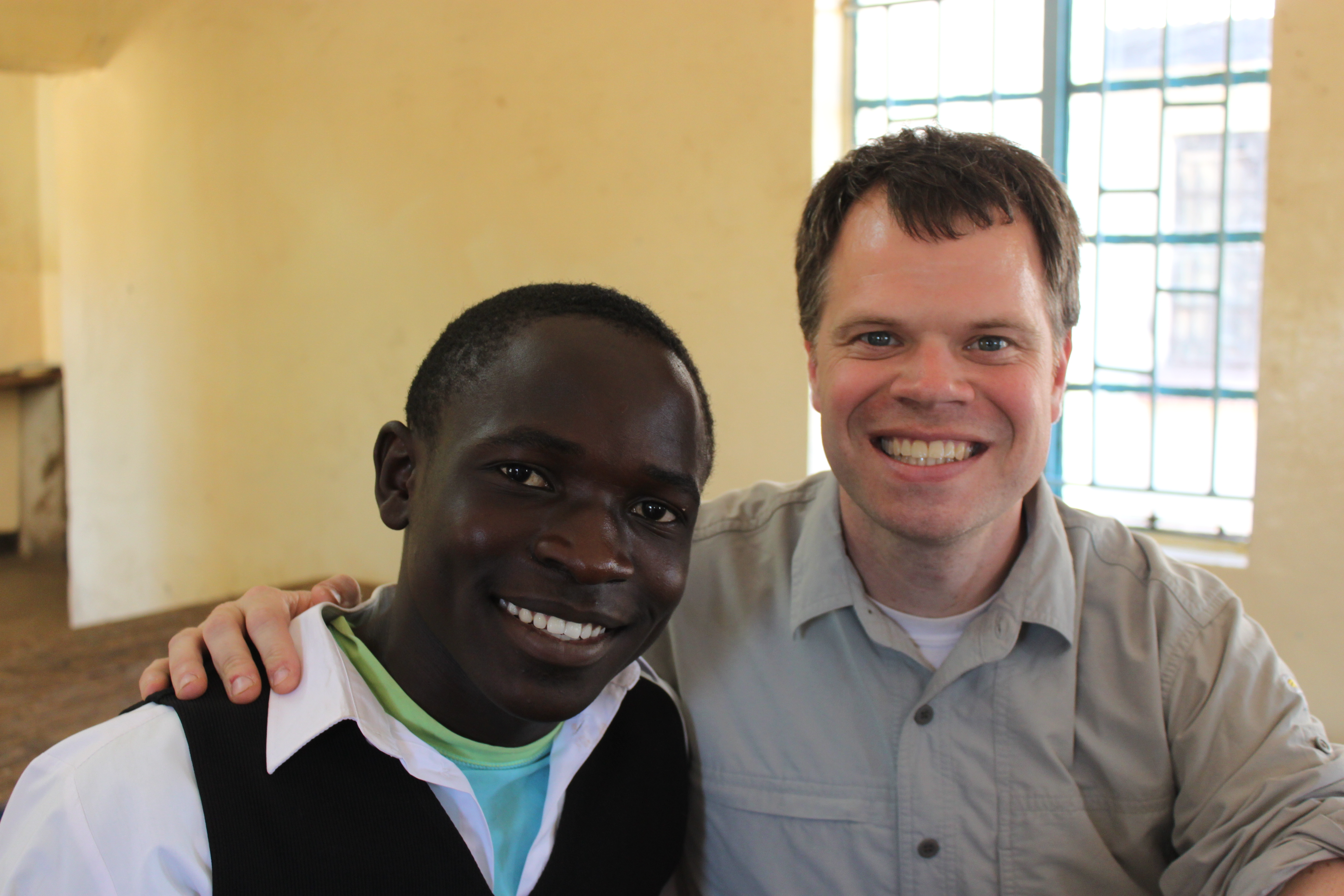 Gabe Cronin with Michael Samakayi at the Munali School for the Deaf and Blind. (Photo courtesty Sam Zieve and SAAS-ZC.)