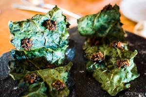 Crispy kale with black truffle and rye dust