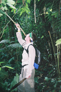 Drinking water from a vine in the Amazon rainforest of Ecuador. (Photo courtesy Adam Bannister.)