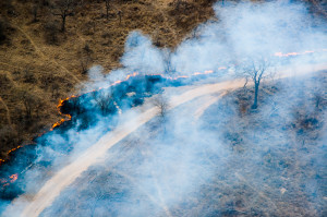 Bush fire outside one of the landing strips
