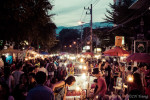 The view of Chiang Mai Sunday Market from Rachadamnoen Road