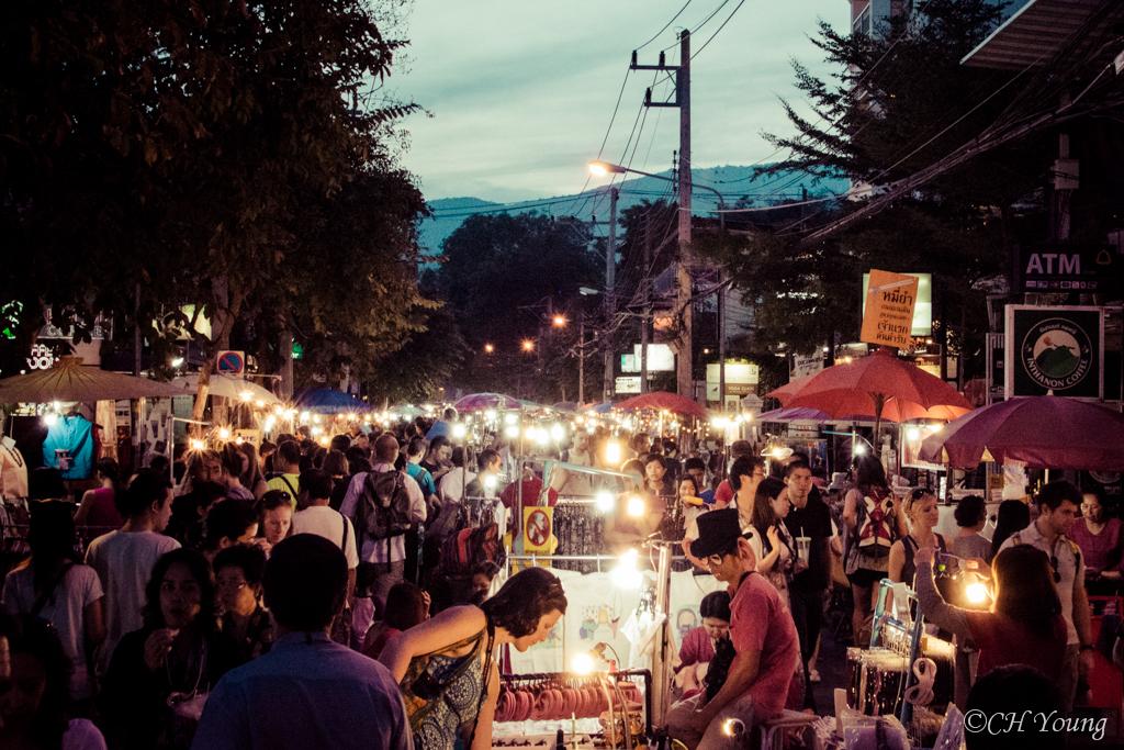 The view of Chiang Mai Sunday Market from Rachadamnoen Road