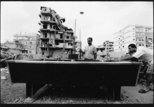 Men play pool inside Shatila Camp, Lebanon. (David Ridgen ©1998)