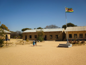 The Zimbabwean flag atop an assembly point in one of the primary schools. (Photo courtesy William Altoft.)