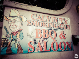 "Calvin T's BBQ & Saloon. Cowboy Dick Cheney says: ""Enjoy it or I'll shoot you in the face!"""