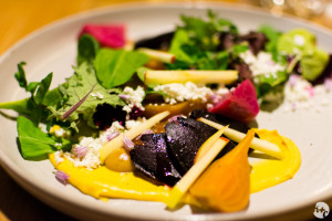 Roasted beet salad with Okanagan goat cheese and burnt apple vinaigrette at Forage
