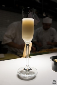 One of several glasses of a sake pairing