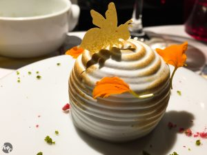 La Meringue - nougat semifreddo in toasted meringue with lemon sorbet